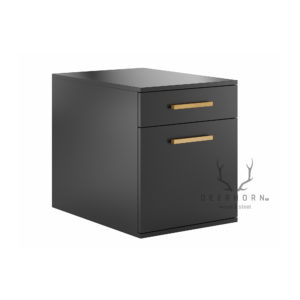 Czarny, mobilny kontener z szufladą i półką na segregatory