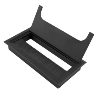 Czarny, aluminiowy przepust kablowy do biurka. Wymiar przepustu 160x80mm